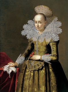 Portrait of a lady with a pearl headdress | Artist unknown, central european school (c.1625/35)