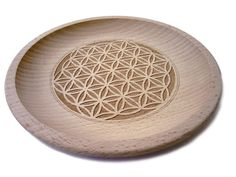 Wooden dish Flower of Life carved on top, beech wood,