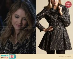Hanna's lace coat on Pretty Little Liars. Outfit Details: http://wornontv.net/27955 #PLL #fashion
