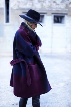 Burberry coat, Piperlime hat #StreetStyle