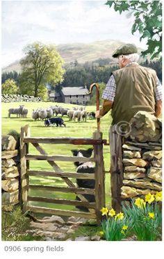 Trademark Global The Macneil Studio 'Spring Fields' Canvas Art – 19 – Tablolar – Natur Country Farm, Country Life, Country Living, Esprit Country, Artist Canvas, Canvas Art, Creation Photo, English Countryside, Farm Life