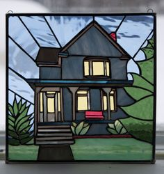 Stained Glass Home is Where the Heart is Panel