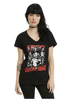 Squad up // DC Comics Suicide Squad Group Girls V-neck T-Shirt