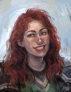 Fantasy Races, Fantasy Warrior, Fantasy Rpg, Medieval Fantasy, Dark Fantasy, Redhead Characters, Dnd Characters, Fantasy Characters, Female Characters