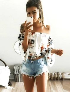 Sexy off Shoulder Flower Print Chiffon Blouse Women Chocker Shirt blusa Casual ropa mujer veste femme Summer Style Top Boho Tee Mode Outfits, Short Outfits, Trendy Outfits, Fashion Outfits, Jeans Fashion, Floral Outfits, Ootd Fashion, Fashion Clothes, Sexy Casual Outfits
