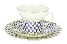 Lomonosov Porcelain Bone China Tea Cup Set 3pc Wave Cobalt Net 5.2 oz