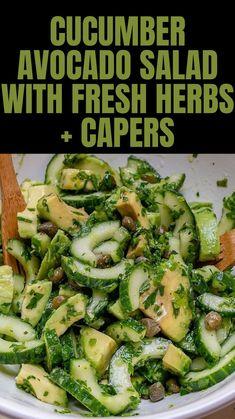 Cucumber Avocado Salad, Cucumber Recipes, Healthy Salad Recipes, Raw Food Recipes, Veggie Recipes, Low Carb Recipes, Diet Recipes, Healthy Snacks, Vegetarian Recipes