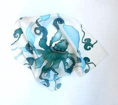 Octopus scarf | Octopus silk scarf . Emerald green and sea blue creature. Ready to ...