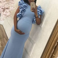 Trendy baby shower outfit for guest blue maternity dresses 55 ideas Blue Baby Shower Dress, Baby Shower Outfit For Guest, Maternity Dresses For Baby Shower, Cute Maternity Outfits, Maternity Gowns, Stylish Maternity, Pregnancy Outfits, Maternity Pictures, Maternity Fashion