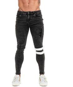 Gingtto 2019 New Men Skinny Jeans Skinny Slim Fit Stretchy Blue Jeans Big Size Cotton Lightweight Comfy Hip Hop White Tape Ripped Biker Jeans, Denim Pants Mens, Jeans Fit, Jeans Material, Denim Branding, Super Skinny Jeans, Blue Jeans, Hip Hop, Vogue