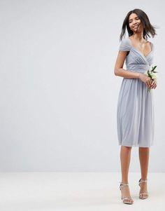 cb8072c3a08e ASOS DESIGN Bridesmaid ruched mesh paneled midi dress  ad  weddings   weddingdress  weddingplanning