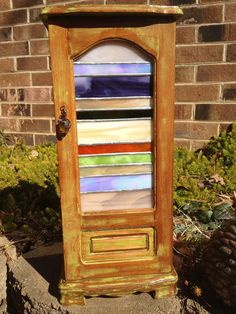 Wooden Jewelry Box With Stained Glass Door
