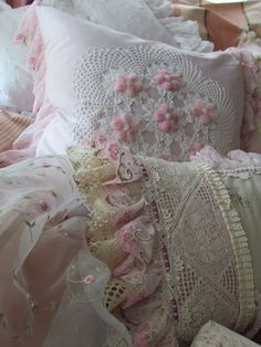 Pretty grouping of Bed Pillows/Shams Ꮗ/Lace & Flowers~❥