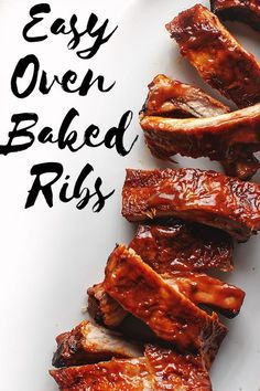 Easy Oven Baked Ribs Use your oven to make perfect pork ribs every time! This oven baked ribs recipe means no grill or smoker necessary to make melt in your mouth BBQ ribs. Ribs Au Barbecue, Bbq Ribs In Oven, Babyback Ribs In Oven, Oven Baked Pork Ribs, Oven Cooked Ribs, Ribs Recipe Oven, Bbq Pork Ribs, Oven Roasted Ribs, Recipes