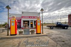 """The Historic Kan-O-Tex service station in Galena Kansas on route 66.  The station has been restored and is now """"4 Women on the Route"""" a sandwich and gift shop featuring route 66 and """"Car's"""" items."""