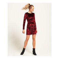 Superdry Lily Velvet Bodycon Dress ($55) ❤ liked on Polyvore featuring dresses, purple, velvet cocktail dress, white bodycon dress, purple dress, purple party dresses and velvet dress
