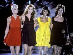 Naomi, Christy, Linda, Cindy at 1991 Versace Fall Runway Show!