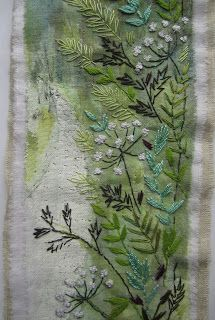 Louise Watson - Textile Artist: Dappled light on the grasses by the canal- finishe...