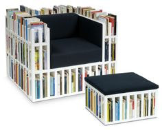 The bookshelf chair (from BIBLIOCHAISE at www.nobodyandco.it/sito/inglese/the%20bibliochaise.html). Contains 5 metres of books. Enough for a few days.