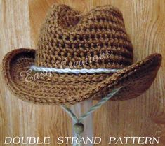 PDF CROCHET Pattern DOUBLE Strand Baby Cowboy, Cowgirl Hat Preemie, newborn to 6 month sizes Star Pattern included Digital Download on Etsy, $5.95