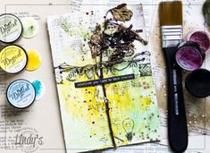 My mixedmedia page with Lindy's Stamp Gang magical powders