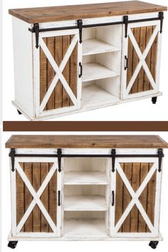 Charm your darling country home with a furniture piece like Farmhouse Cabinet with Sliding Barn Doors! #farmhouse #homedecor #ad #hobbylobby #livingroom #barndoors