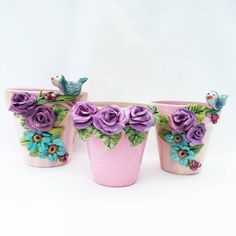 Painted Clay Pots, Painted Flower Pots, Clay Pot Crafts, Diy And Crafts, Cactus Craft, Clay Flower Pots, Shabby Chic Crafts, Terracotta Pots, Garden Projects