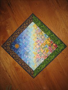 Art Quilt, Summer Sunshine Garden Flowers Fabric Diagonal Wall Hanging Handmade by TahoeQuilts on Etsy