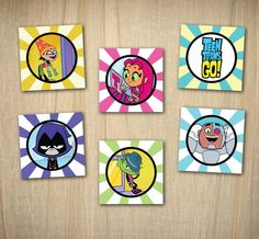 """Teen Titans Go Printable 2"""" Party Circles / Cupcake Toppers INSTANT DOWNLOAD"""