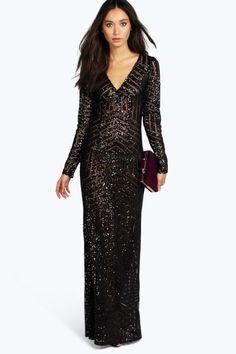 c5bad5c39e60 boohoo Boutique Mia Sequin Mesh Plunge Neck Maxi Dress - black $70.00 AT  vintagedancer.com