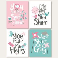 pink and turquoise nursery print download you by SunnyRainFactory