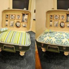 "Oh my gosh! How cute! A cat bed out of an old suitcase with framed ""pictures"" of kitty friend's and relatives!"
