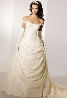 disney princess wedding gowns--Now this looks like Belle to me compared to some of the others.