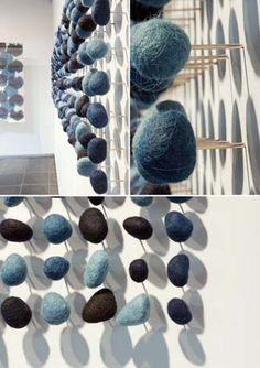 Fiber Art - An installation by Roland Ricketts who created 400 indigo-dyed stones. Each piece was hand-felted, mounted on a stainless pin and meticulously set into the wall. Sculpture Textile, Textile Fiber Art, Soft Sculpture, Wall Sculptures, Instalation Art, 3d Fantasy, Art Courses, Felt Art, Summer Art