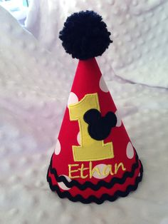 Embroidered Birthday Hat  Mickey Mouse  by SlickandBoogers on Etsy, $14.00