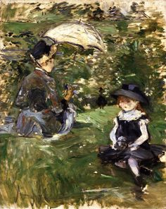 The Athenaeum - MORISOT, Berthe French Impressionist (1841-1895)_Young Woman and Child on an Isle- 1883