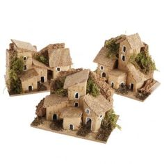 Casetta presepe legno tetto sughero Clay Houses, Putz Houses, Paper Houses, Miniature Houses, Doll Houses, Village Houses, Christmas Nativity Scene, Christmas Villages, Diy Christmas Ornaments