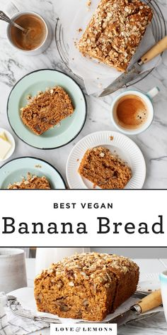 This easy healthy banana bread recipe is moist warmly spiced and full of banana flavor Its vegan and its delicious as breakfast or afternoon snack. Banana Bread Ingredients, Vegan Banana Bread, Healthy Banana Bread, Banana Bread Recipes, Brunch Recipes, Breakfast Recipes, Dessert Recipes, Banana Breakfast, Xmas Recipes