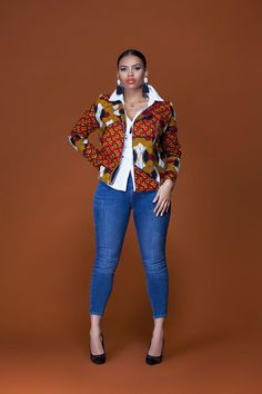 African Print Esmee Biker Jacket| Grass-Fields| Bold and beautiful, for any occasion