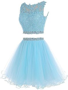 HTYS Beaded Two Pieces Prom Dresses Applique Short Homecoming Dresses Pretty Quinceanera Dresses, Pretty Prom Dresses, Prom Dresses 2016, Prom Dresses For Teens, Sweet 16 Dresses, Prom Outfits, Mode Outfits, Cute Dresses, Beautiful Dresses