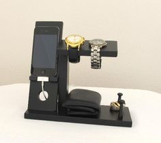 Iphone Stand with Mens Valet Men Watch Holder- Men Watch Stand - Watch Display Iphone Dock - Ring Holder by ImproveResults on Etsy https://www.etsy.com/listing/171219721/iphone-stand-with-mens-valet-men-watch