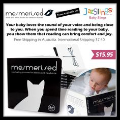 Mesmerised Black and White Baby Board Book Available on Jazslings online shop at http://jazslings.com.au  Visit www.StudioGrfx.com to view my portfolio. All enquiries please email at pascalg@studiogrfx.com. #ads #jazslings #graphicdesign