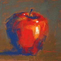 "Effective use of colour, shadows and light.  ""Apple Study"" - Desenho a pastel de Barbara Jaenicke"