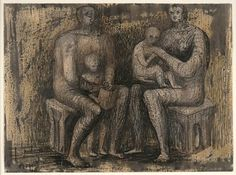 Henry Moore, British (Castleford, England, 1898 - 1986, Much Hadham, England)   Family Group, ca. 1943-1944  drawing | watercolor, ink, crayon, graphite, and wax on paper