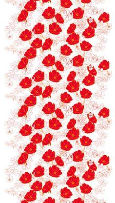 """Ruusunen"" Marimekko Fabric, Color 130. White, Orange, Cotton. Design: Teresa Moorhouse. Finland"