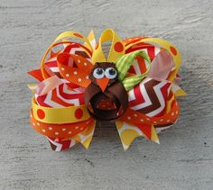 Thanksgiving Hair Bow  Stacked Hair Bow  by prettynpinkbowtique, $9.95