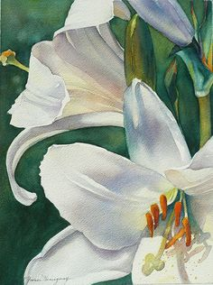 Easter Lilies - Original Watercolor Painting | Mobile Artwork Viewer