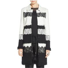 St. John Antonina Lace Topper ($1,797) ❤ liked on Polyvore featuring outerwear, coats, casual, caviar frost, jackets, leather-sleeve coats, lace coat, sequin coat, st john coat and fringe coat