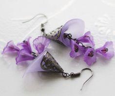 Purple Lavender Dangling Earrings