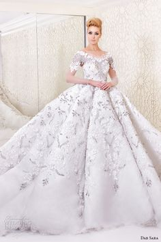 dar sara bridal 2016 wedding dresses beautiful ball gown off the shoulder short sleeves floral embroidery